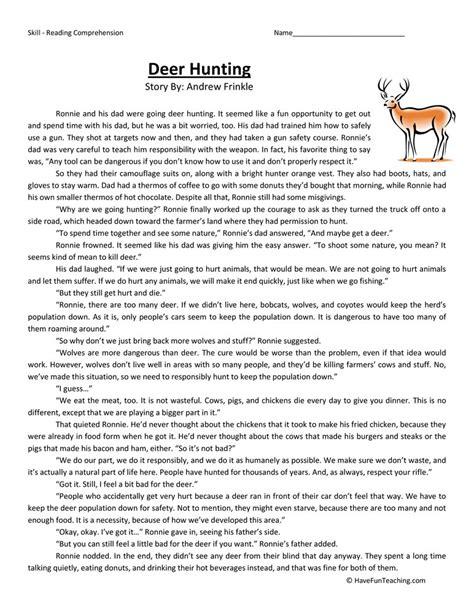 Deer Hunting  Reading Comprehension Worksheet  Have Fun Teaching