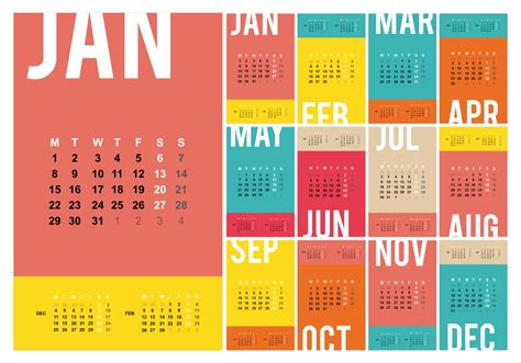desktop calendar  template illustration