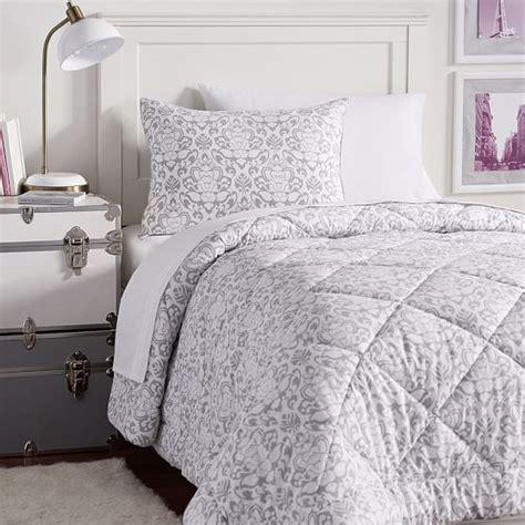light grey comforter decorator damask value comforter set pbteen