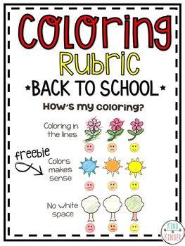 kindergarten coloring rubric  kind  kinder tpt
