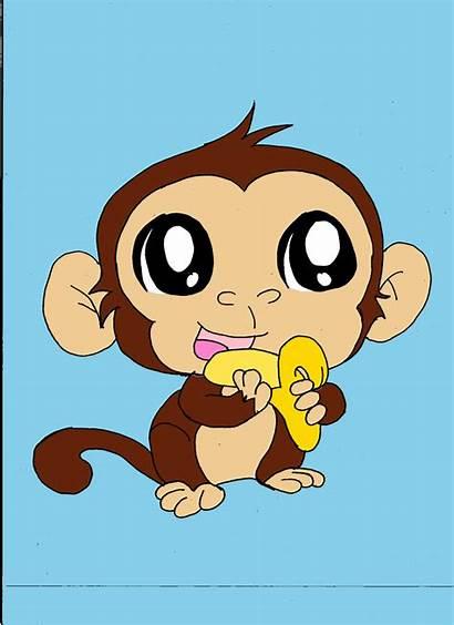 Monkey Monkeys Drawing Clipart Kawaii Cartoon Easy