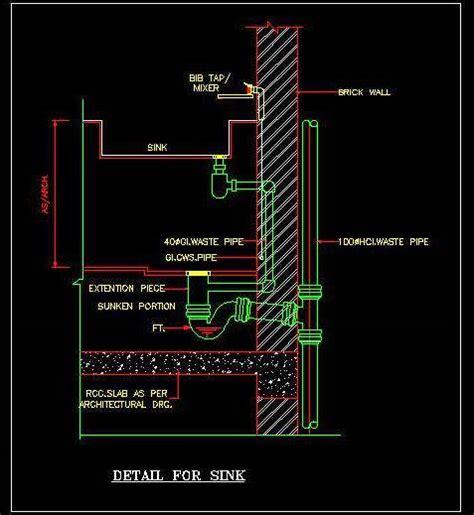 sink fixing plumbing details autocad dwg plan  design