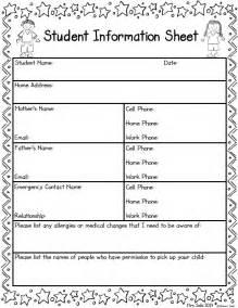 Preschool Student Information Sheet Template