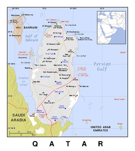 detailed political map  qatar  relief qatar asia
