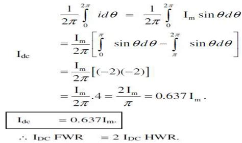 Full Wave Rectifier Average Value Derivation
