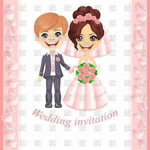 Wedding invitation with cute cartoon bride and groom ...