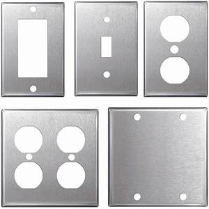 Stainless, Steel, Wall, Plates, Light, Switch, Covers