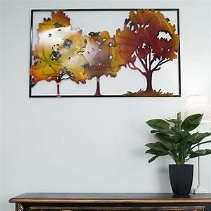 Galvanised metal autumn trees wall art cm lrg vintage