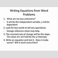 Writing Equations From Word Problems  Ppt Video Online Download