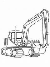 Excavator Coloring Digger Realistic sketch template