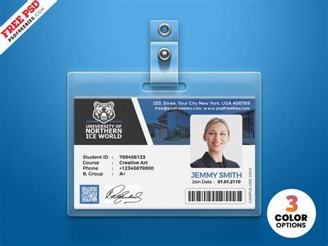 university student identity card psd psdfreebiescom