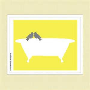 yellow and gray art bathroom art decor love bird on by