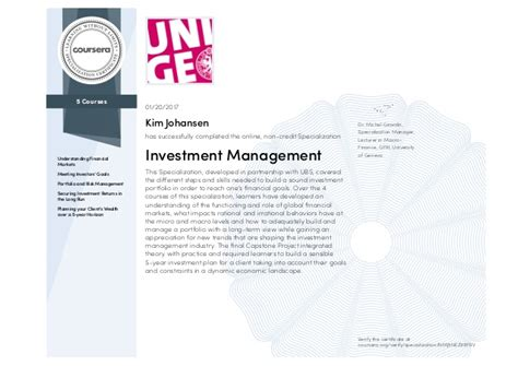 investment management specialization certificate