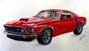 Drawing Ford Mustang 1969 - YouTube