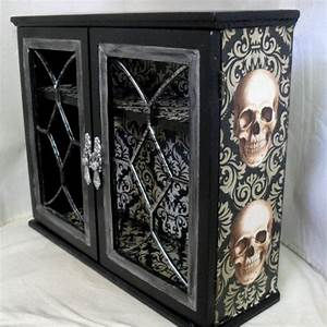 Gothic home decor gothic cabinet reserved for sarah becker for Skull home decor