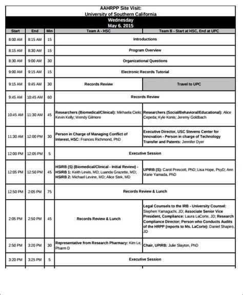 visit agenda templates   word  format