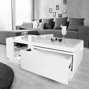 Table Salon Blanc Laqué : table de salon blanc laqu table basse bois et verre design trendsetter ~ Teatrodelosmanantiales.com Idées de Décoration
