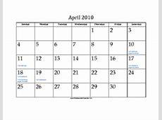 April 2010 Calendar with Jewish holidays