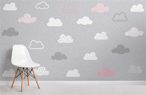pink  grey clouds pattern wall mural murals wallpaper