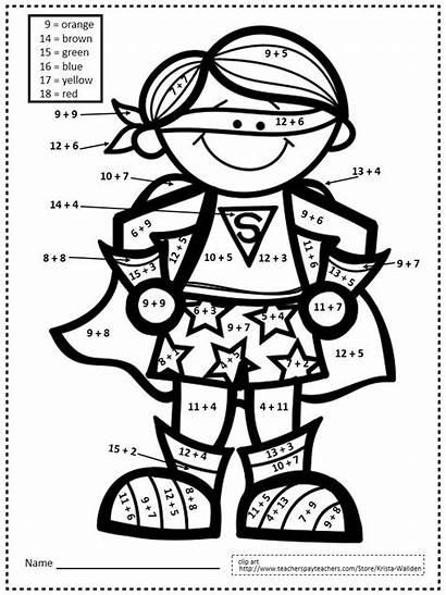 Grade Superhero Math Coloring Number Printables Worksheets
