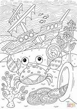 Coloring Sunken Ship Treasure Crab Found Pages Near Printable Drawing Crabs Under Paper Supercoloring Books sketch template