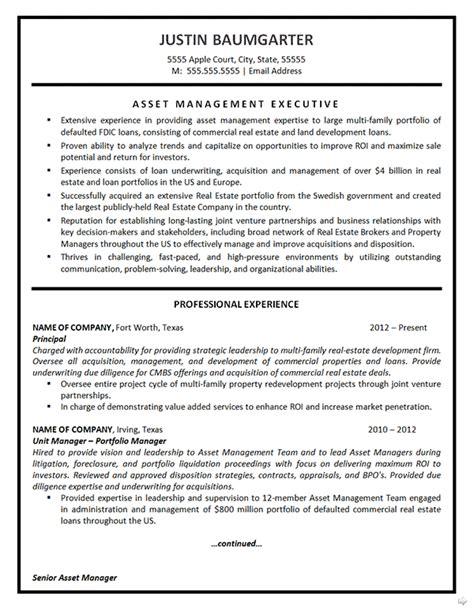 asset management resume