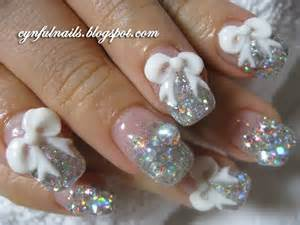White and Silver Glitter Tips Nails