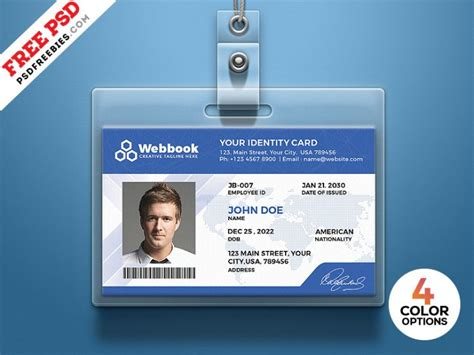 template id card gratis free id card template psd set psdfreebies