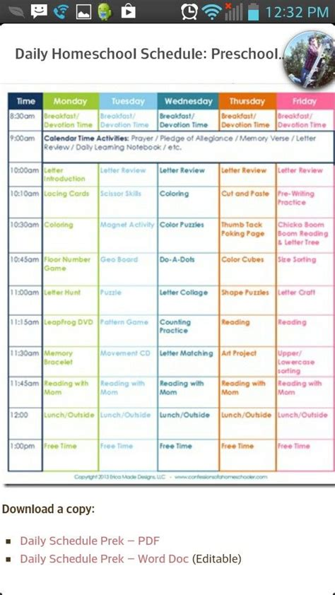 homeschool schedule  home learning planning