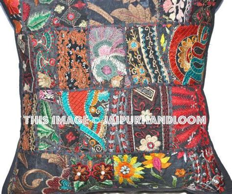 black patchwork euro shams bohemian embroidered patio