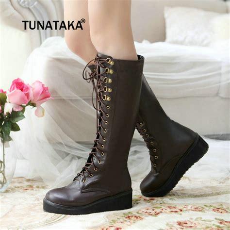 woman platform thick high heel knee high boots spring fall