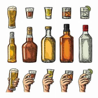 Glass Bottle Whiskey Holding Tequila Hand Beer