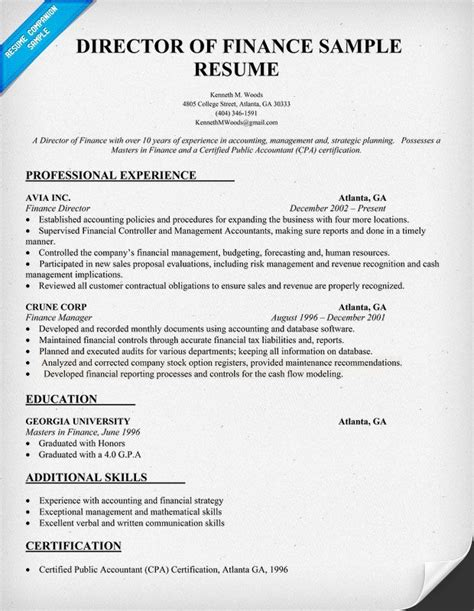 Director Of Finance Resume Sample  Resume Samples Across