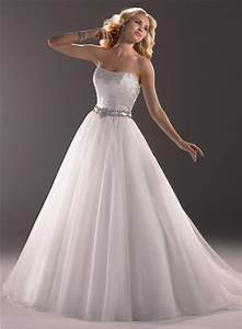 princess a line strapless tulle wedding dress with beaded With a line princess wedding dress