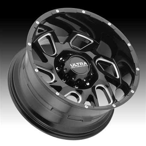 Ultra 221 Carnage Gloss Black Milled Custom Wheels Rims