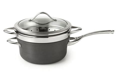 calphalon contemporary nonstick saucepan  steamer insert  quart cutlery
