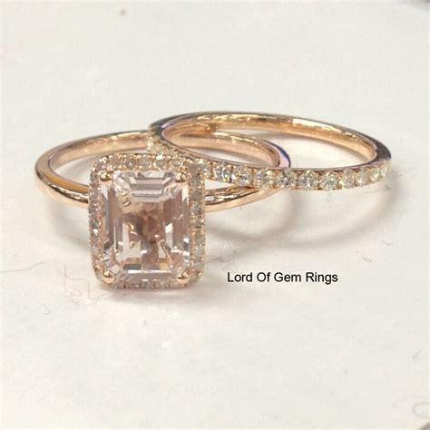 2 wedding ring sets morganite diamond moissanite engagement ring 14k rose gold ebay