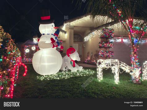 front yard christmas decorations stock photo stock