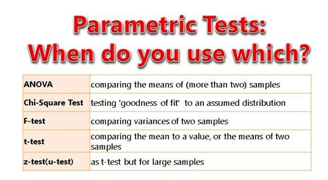 parametric use test tests vs statistics which know