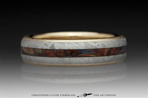 pietersite ring meteorite and 10k yellow gold ring with pietersite inlay