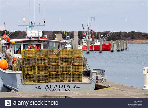 Lobster Boat Plymouth Ma by Lobster Boat Loaded With Traps At Dock In Harbor At