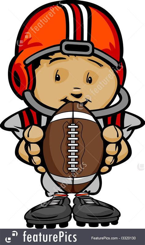 Smiling Football Kid With Helmet Holding Ball Vector Cartoon