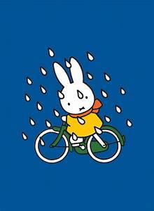 Miffy on Her Bike in the Rain Mini Poster