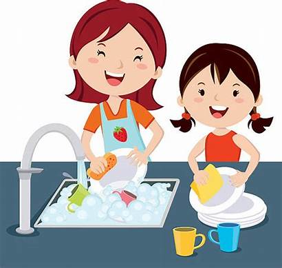 Washing Dishes Children Vector Clipart Faire Illustrations