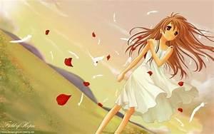 wind,beautiful,Anime Girl,cute girl,hair,afternoon A girl ...