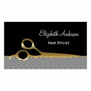 Elegant black and gold chevrons hair salon double sided for Hair salon business card template