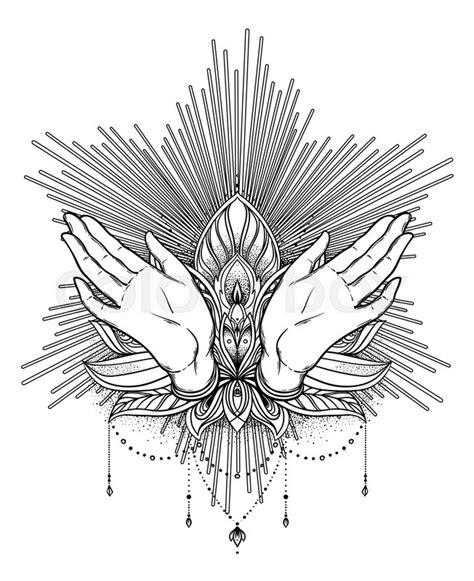 vector ornamental lotus flower  praying hands