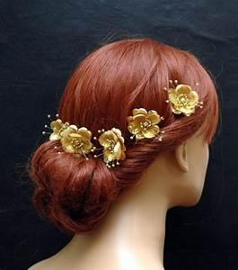 Gold Silk Flower Hair Pins Wedding Hair Accessories Set
