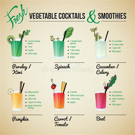 vegetable smoothie recipes fresh vegetables cocktails and smoothies stock vector illustration of illustration diet 38499358