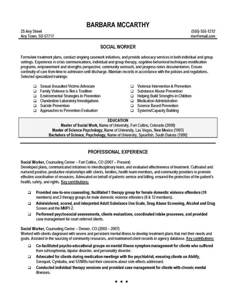 Msw Resume Format by Social Worker Resume Sle